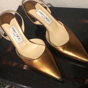 Jimmy Choo metallic bronze leather low-heel sling